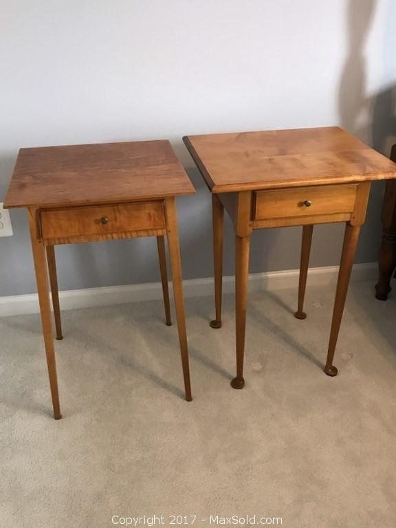 Two Handmade Eldred Wheeler Tiger Maple Nightstands 21x18x28 With