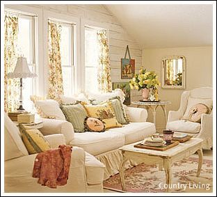 Reminds me of one of my aunts living area in the 1950's. So comfortable, serene and very feminine.