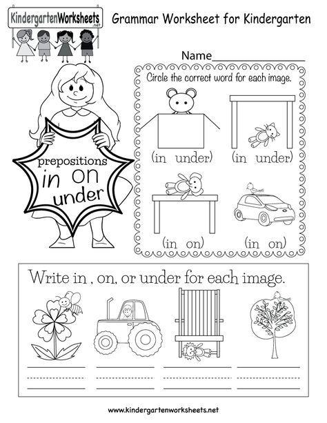 In This English Grammar Worksheet For Kindergarten Kids