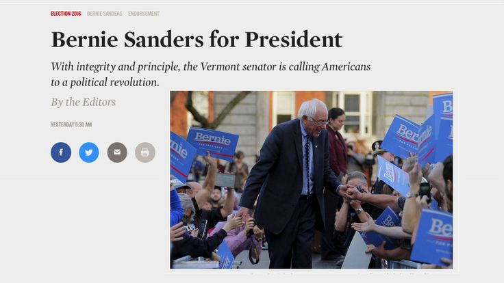 """""""He Has Summoned a Political Revolution"""": The Nation Magazine Endorses Bernie Sanders for President"""