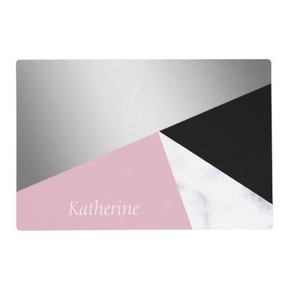 Elegant geometric silver white marble pink black placemat - modern gifts cyo gift ideas personalize