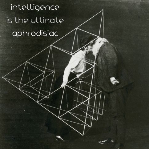 Intelligence is the ultimate aphrodisiac ///  Alexander Graham Bell (scientist, inventor, engineer and innovator who is credited with inventing the telephone) and his wife Mabel kissing within a tetrahedral kite, October 1903. Photo © National Geographic  www.storminateapotbrand.bigcartel.com Follows us also on:   FB Storm in a Teapot   G+ goo.gl/yNOUHh   Twitter twitter.com/StormTeapot