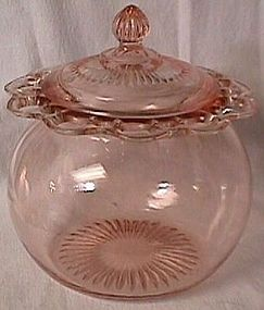 Old Colony Pink Depression Glass Cookie Jar   -    Pre 1940  *My great grandmother kept one of these on her table full of frosted oatmeal cookies to eat with green tea.
