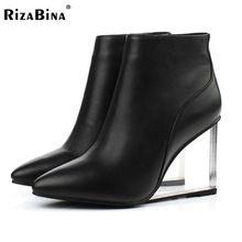RizaBina женская обувь прозрачные клинья высокие каблуки ботильоны острым носом на высоких каблуках сапоги зимние черные туфли женщина size33-41(China (Mainland))