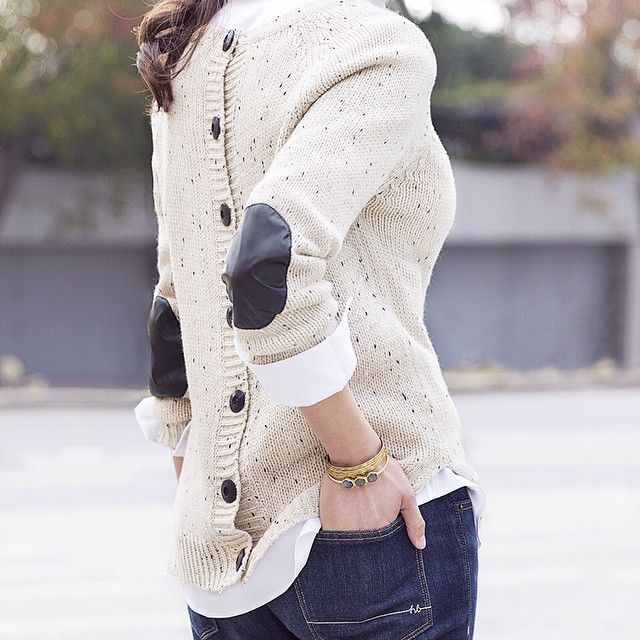 """stitchfix: """"Business in the front, elbow patch party in the back. Who's loving the details on this heathered sweater? (Cotulla Button Back Sweater)"""""""