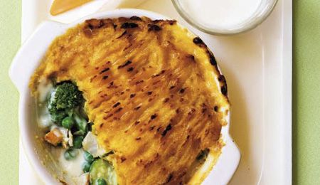Fish pie with sweet potato and butternut topping