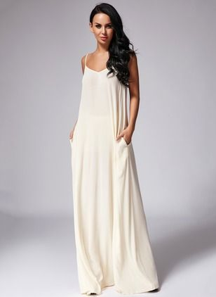 Cotton Polyester Solid Sleeveless Maxi Sexy Dresses (1035662) @ floryday.com