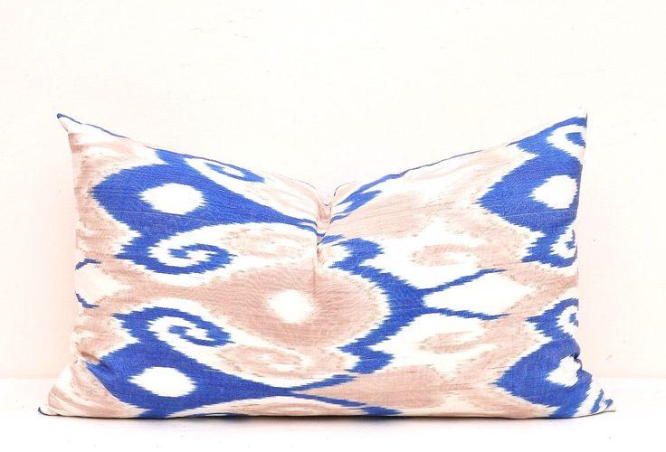 Ikat Pillow cover, Bolster pillow cover, Blue ikat Pillow, Lumbar ikat pillow, Bolster pillow, silk cotton ikat pillow, Sofa Bolster pillow by DecorIkatPillows on Etsy https://www.etsy.com/listing/264310882/ikat-pillow-cover-bolster-pillow-cover