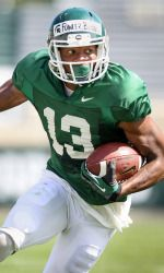 Under partly cloudy skies and temperatures in the low-70s, the Michigan State football team held its first jersey scrimmage of preseason camp on Saturday in Spartan Stadium. Utilizing a modified scoring system, the defense defeated the offense, 28-22, in a situational scrimmage. Fowler pictured.
