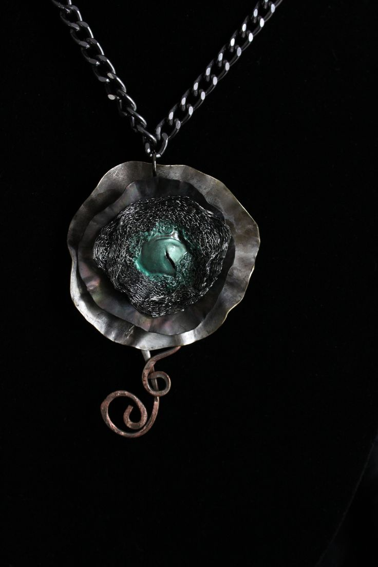 Old from New - silver plate flower, wire mesh ribbon, teal enamel and copper wire pendant