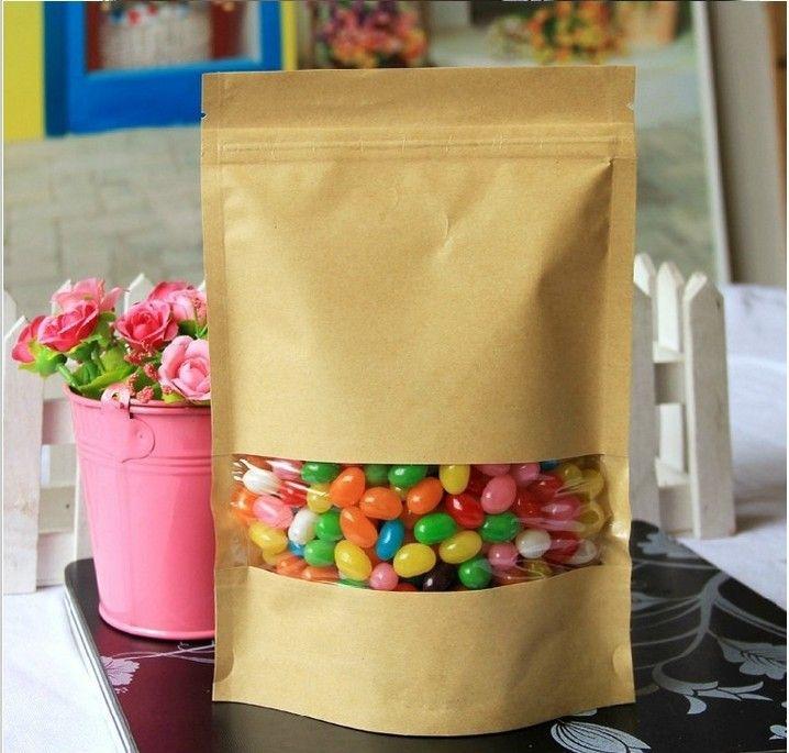 Spedizione gratuita 50pcs/lot 14x20cm carta kraft marrone sacchetto di carta del mestiere chiusura lampo standup sacchetto imballaggio per alimenti hanno finestra borsa