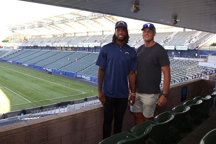 Los Angeles Chargers first 2017 draft pick Mike Williams and QB Phillip Rivers at the team's new home, Stubhub Center