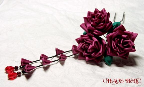Japanese hair accessory by.Kanzashi -Rose-