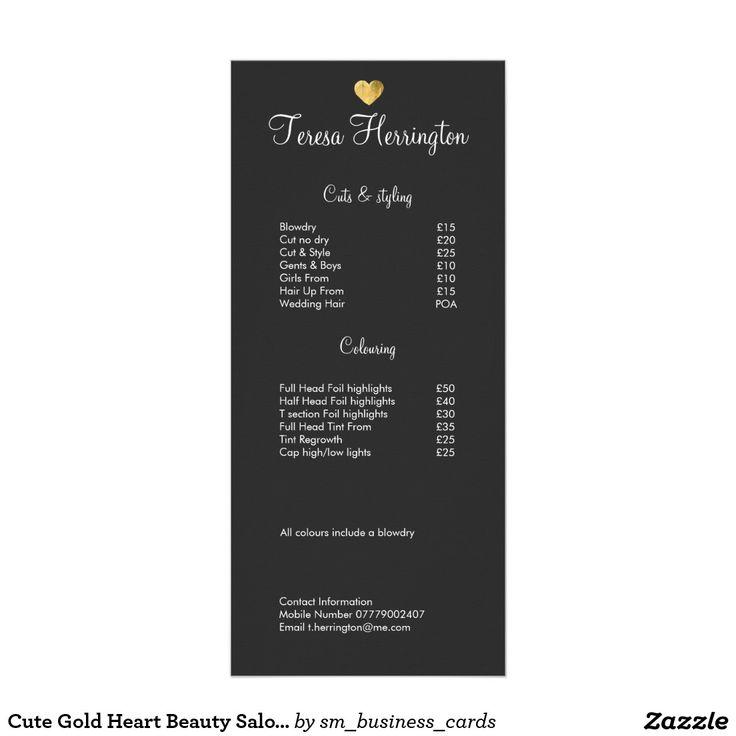 Cute Gold Heart Beauty Salon Price List Menu 2 Rac