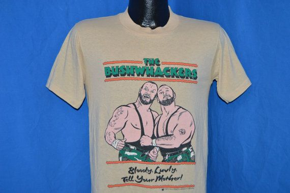 80s The Bushwhackers WWF Wrestling Beige Vintage t-shirt Small