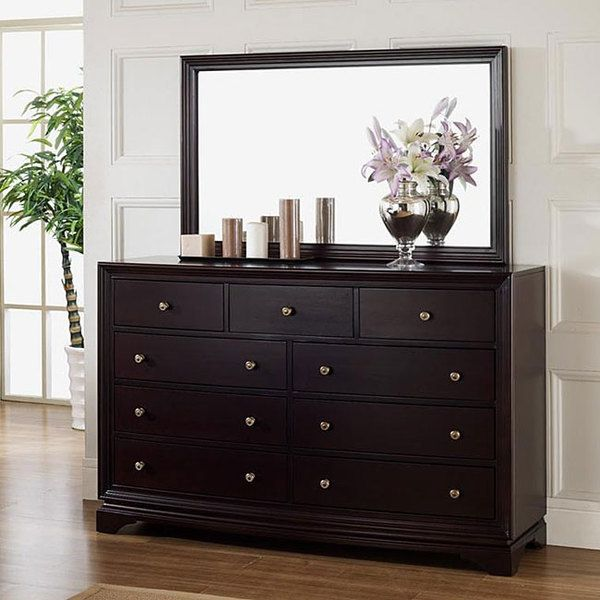 ... Kingston Espresso Finish Nine Drawer Dresser And Mirror Set. This Set  Features Solid Oak Wood Construction And Is Perfect To Update Any Bedroom  Decor.