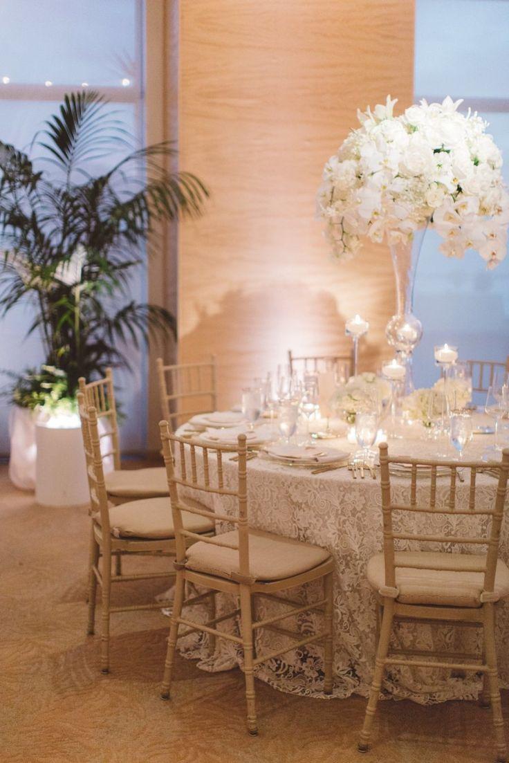La Tavola Fine Linen Rental: Venice Lace White   Photography: Anna Delores Photography, Event Planning: Wedding Kate, Floral Design: Casa Blanca Floral & Event Design, Venue: Four Seasons Santa Barbara
