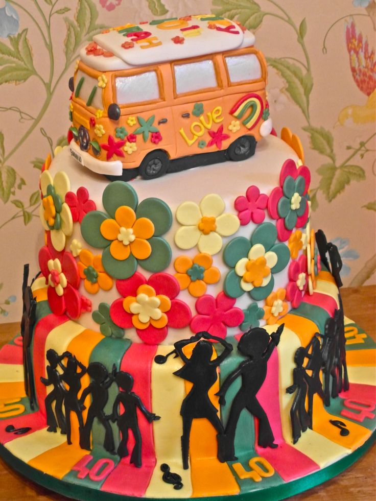 70s theam cake, full of colour love and peace and disco dancing xx