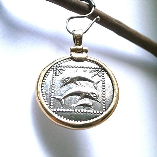 Dolphin Family Ancient Gold - Silver Pendant     Pressed - Handmade     14K Gold - 925 Sterling Silver     Thickness 23mm - Diameter 25mm     2.5g 14Gold - 9.3.4g 925 Silver - Weight 11.8g