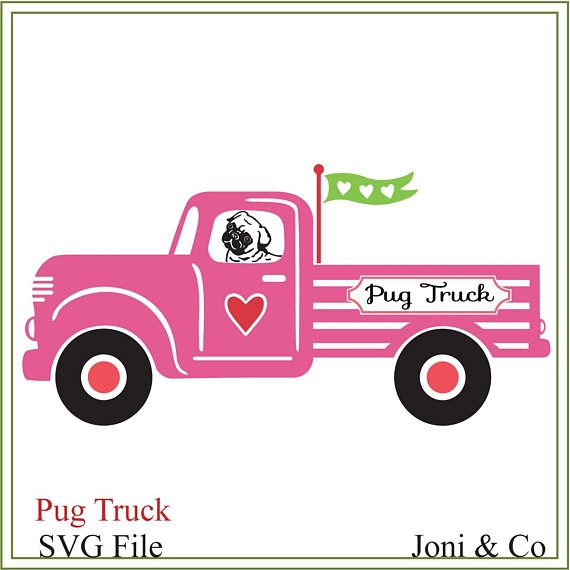 Pug Truck SVG, Farm truck svg, pug svg, printable, cards, signs, vinyl, dog svg, pug sign svg, pug breed, download truck, iron on transfer This design looks really cute printed on tee shirts. If you love Pugs, this design makes cute framed prints and cards.  As it is a digital file. No physical product will be sent. Just download and have fun.  WHAT YOU WILL RECEIVE 3 SVG files in a zip folder. One file is the pink truck, the second file is the blue truck and the third file is black and…