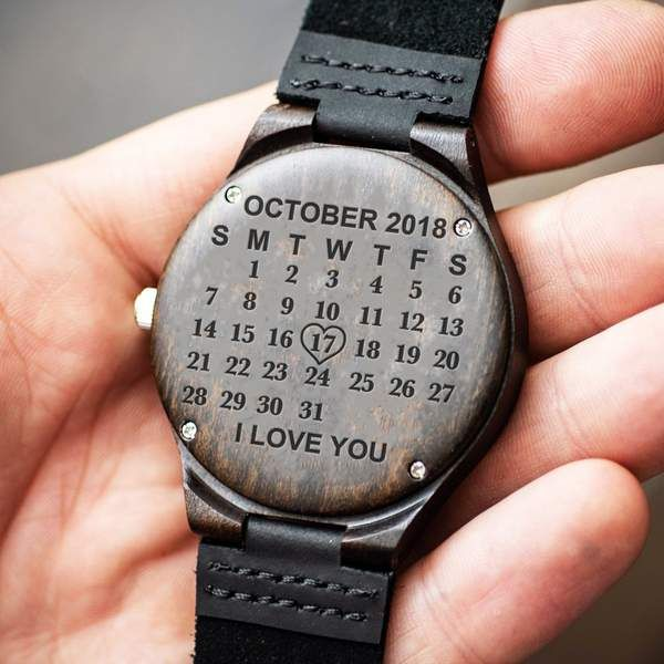 Special Calendar Wood Watch Unique Gifts For Him Watch Engraving Ideas Black Ebony