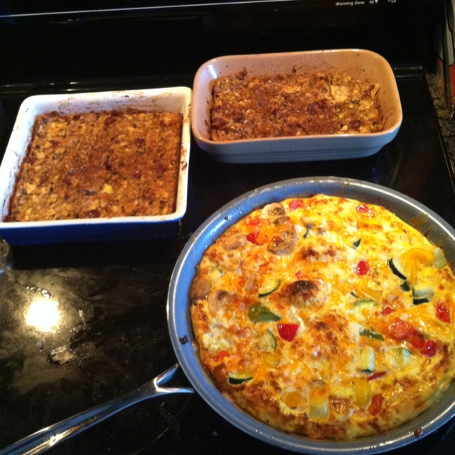 Veggie omelette Two apple/matza puddings - great for passover -Email ...