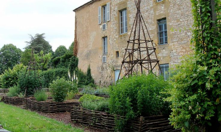 French Country Landscaping Woven Branch Fencing Around The