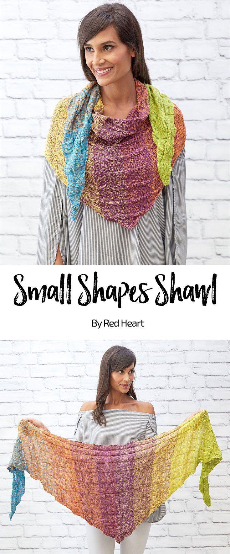Small Shapes Shawl free knit pattern in It\'s a Wrap Rainbow yarn ...