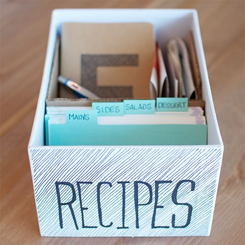 Make a recipe box to give to a newly married couple or a college kid moving into their first apartment