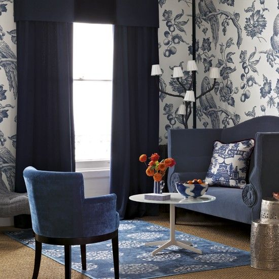 Blue Living Room With Bold Wallpaper Part 36