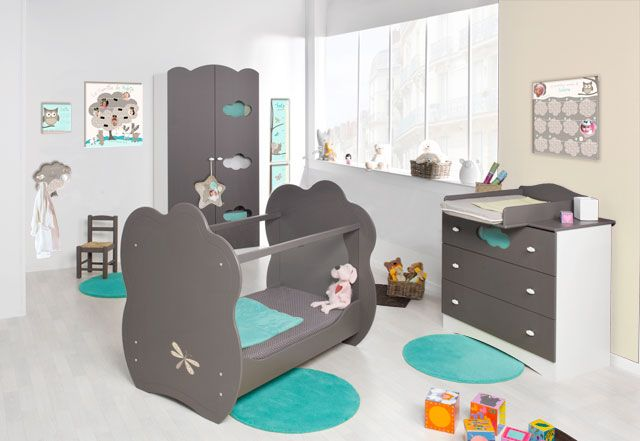 Chambre b b d coration nursery gar on fille baby bedroom for Chambre fille turquoise