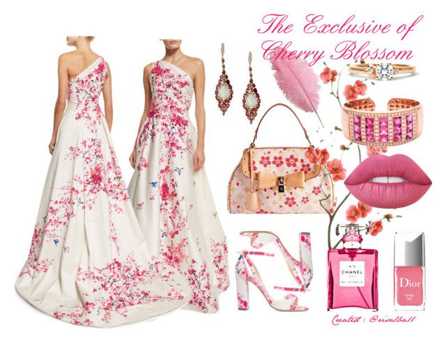 The Exclusive of Cherry Blossom by risalba on Polyvore featuring Monique Lhuillier, Arabel Lebrusan, Lime Crime, Louis Vuitton and Chanel