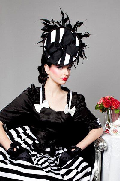 Black and White Striped Fascinator