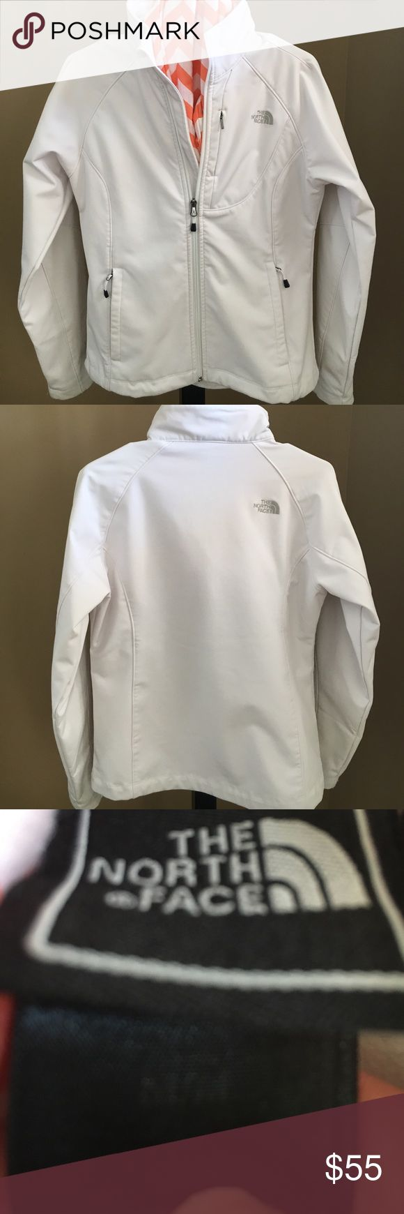 North Face Shell Jacket NWOT. White North Face. Size medium. Worn once. Excellent condition. See photos:) North Face Jackets & Coats