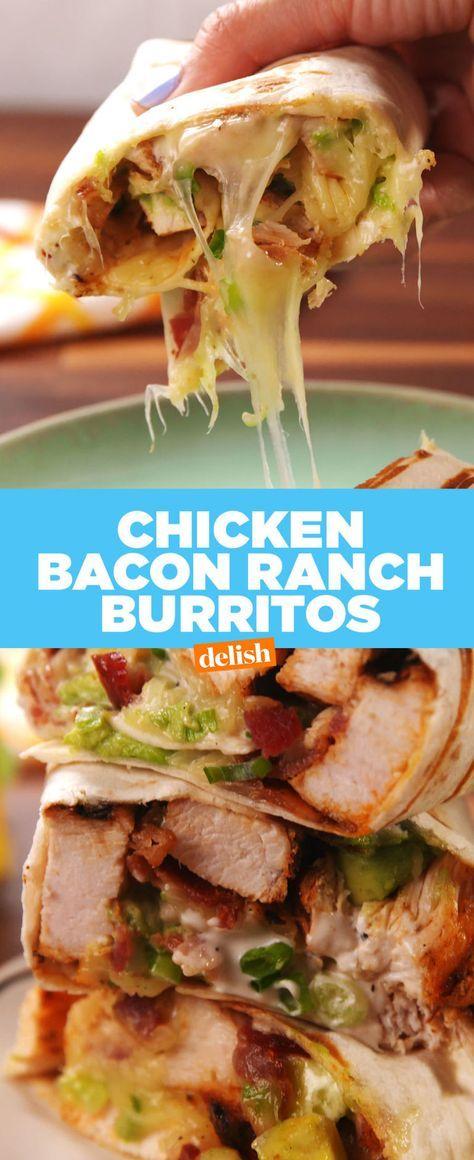Chicken Bacon Ranch Burritos  - Delish.com