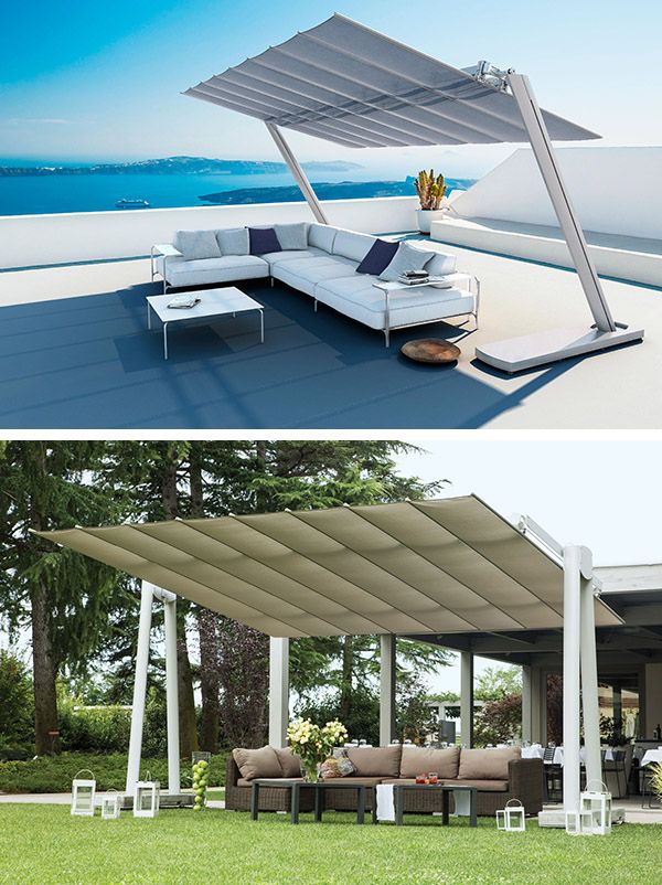 Flexy Zen est un grand Parasol Rectangulaire Autoportant au design très novateur. Il est doté d'un panneau inclinable en toile acrylique et de 2 pieds latéraux en Aluminium. www.barazzi.fr #parasol #event #outdoor #lounge #furniture #barazzi
