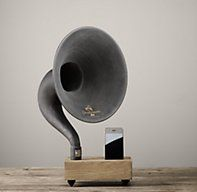 Mini Desktop iPhone® Gramophone.  I phone speaker enhances volume of iphone without electricity.  Great gift Idea starting at $199 from Restoration Hardware.