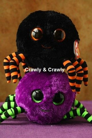 youpi they finally have spiders cute ones I have the black and orange at ho his name is crawly and his birthday is the 21 of september