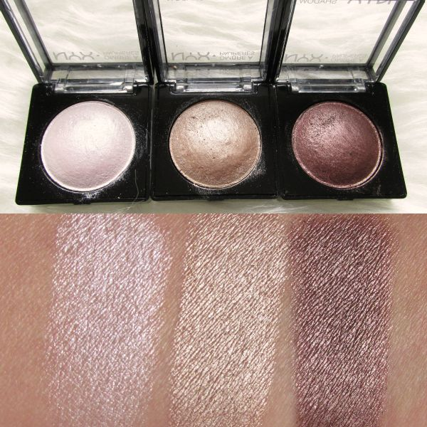 NYX Baked Eyeshadows Swatches wet application - White Noise, Supernova, Chance