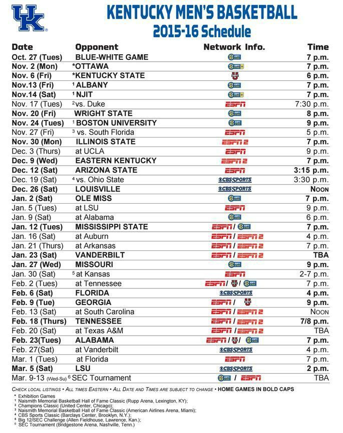 KY Basketball Schedule 2015- 2016