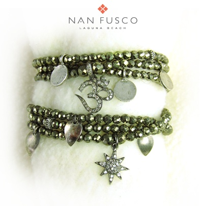 necklace/triple wrap bracelet with diamonds, sterling, tahitian keishis... green/gold pyrite. Nan Fusco Jewelry