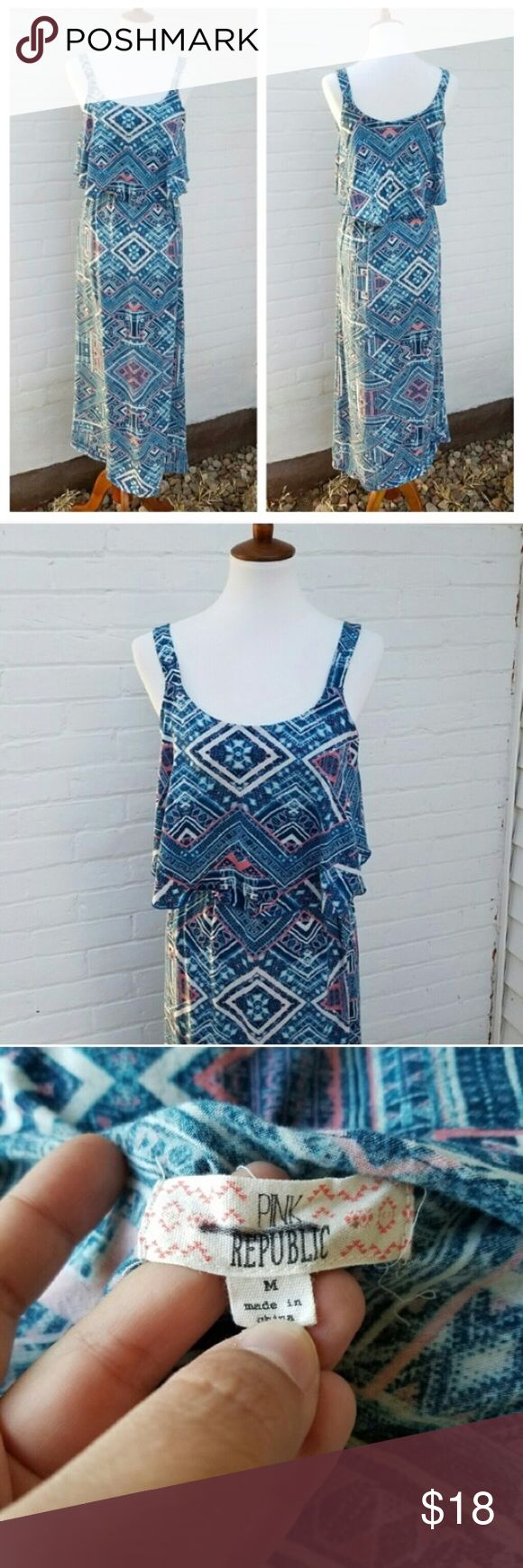 Pink Republic Blue Aztec Maxi Dress Gently used . Stretchy . Stretchy waist band . Non-adjustable straps .  #011804 Pink Republic Dresses Maxi