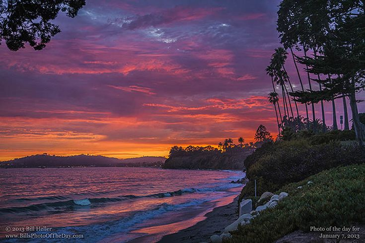 santa barbara beaches | Butterfly Sunset | Sunset over Santa Barbara from Butterfly Beach ...