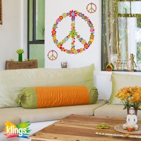 Vinilo Decorativo - Simbolo de la PAZ Con Flores, Grande. WALL STICKER DECOR