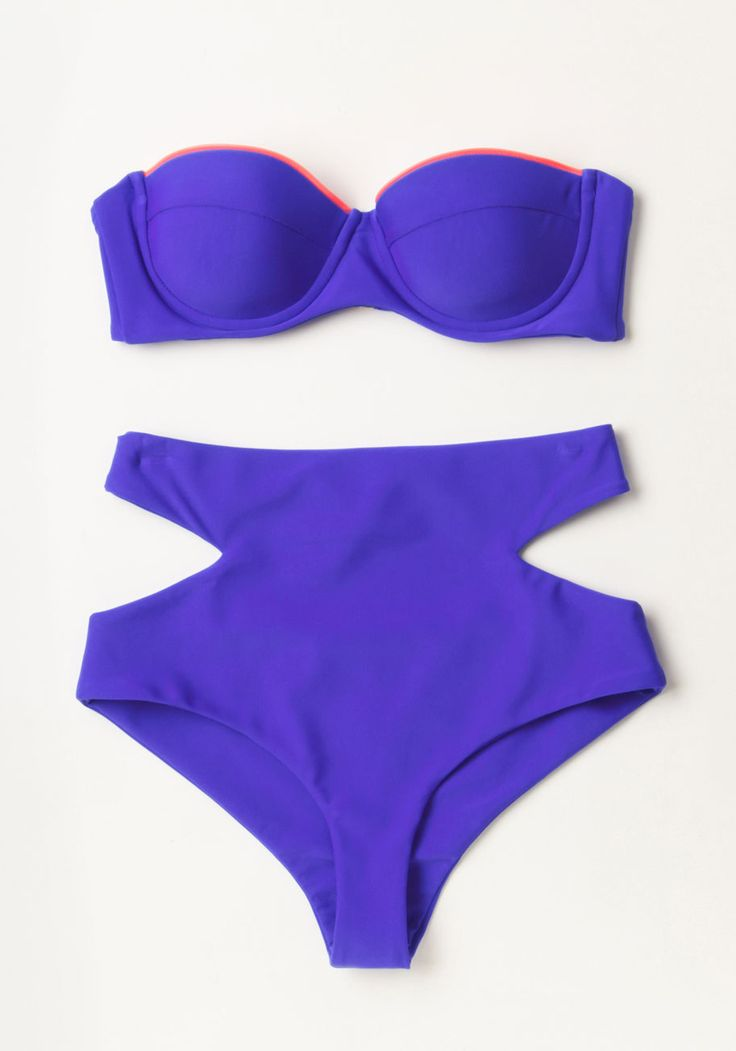 Solarize and Shine Swimsuit Bottom. Only moments after the sun peeks above the horizon do you sneak into this vibrant azure bikini bottom by Zinke and appear on the beach. #blue #modcloth