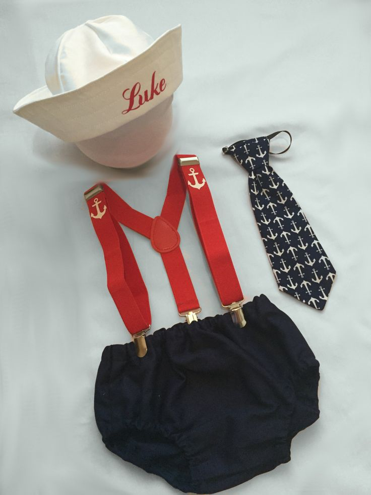 Navy and red Personalised Sailor...Baby boy 1st Birthday Outfit...Cake Smash Outfit...Baby photo shoot outfit...baby sailor by BuBBlingBoutique on Etsy