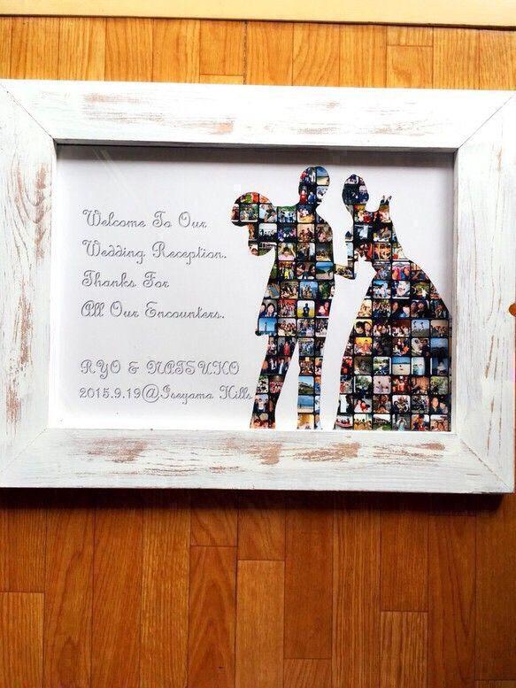 二人のシルエットを「二人の思い出」が形作ります!! 今の二人がいるのは、これまでに出会ったすべての人のおかげです。そんな感謝を伝えることができるウェルカムボードです。結婚式をすでに終えられた方も結婚式の思い出を形に残してみませんか! 新居の玄関に置くのもすごくおしゃれですよ♪額縁も手作りです!! 木材のカットから色づけまでおこなっています。 重量もあり、存在感のある額縁です。メッセージの内容・フォントの変更も可能でございます!!【大きさ】 ☆作品はA3サイズです ☆額縁の大きさ:約41cm×53cmご注文いただきましたら、写真をメールまたはUSBでご郵送ください。 【写真について】◻︎シルエットとなる写真 ※前撮りの写真以外にも二人の思い出の写真等、お気に入りの写真をお選びください。 ※二人の間に空間があったほうが、シルエットを表現しやすいです。 ※サンプルのシルエットを使用することも出来ます。◻︎その他の写真 ※家族との思い出、友達との思い出、二人の思い出の写真など ※サンプルのものは約150枚ほど使用していますが、60枚から作成出来ます。