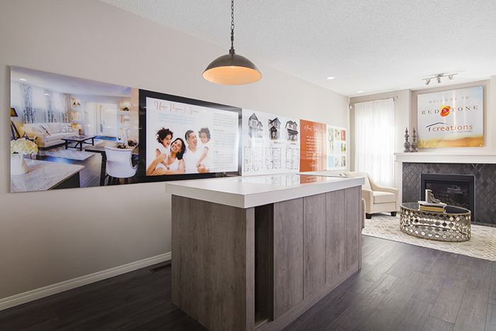 Central nook decorated as a presentation centre  in the Wysteria showhome in the community of Redstone in northeast Calgary