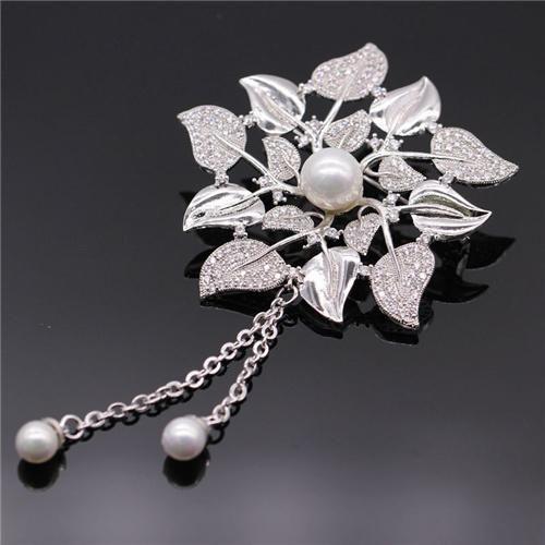 Sparkly Copper Blume Wedding Broschen Für Damen Trendy Entwurf Buttons Mit Perlen Designer Schmuck Pins Für Yzt