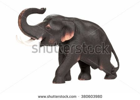 Elephant decorative statuette isolated on white background - stock photo